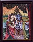 HandicraftStore Radha Krishna mit Flöte, Gem Stone Art Craft Gemälde