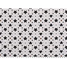 Noël Tissu Avec Cœurs et étoiles, blanc/noir, 140cm