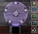 3D Lámpara de Escritorio Mesa NHSUNRAY 7 cambiar el color botón táctil de escritorio del USB LED lámpara de tabla ligera Decoración para el Hogar Decoración para Niños Mejor Regalo (Manchester United)