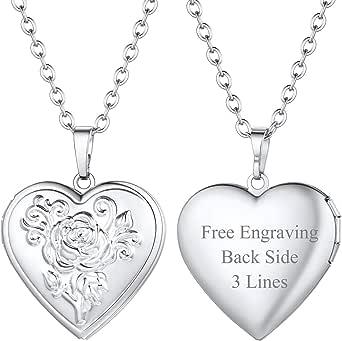 FOCALOOK - Collana con medaglione a forma di cuore, personalizzabile con foto e simboli