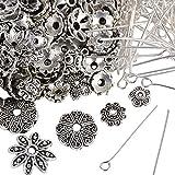 200Pcs 26mm Kettelstifte Nietstifte mit Öse Silber + 200Pcs (6-15mm) Perlenkappen Endkappe Spacer Blume zufällig gemischt Schmuckzubehör Antik Tibetsilber