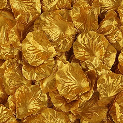 AAVBR Seide Rosenblüten Blumen Tisch Dekoration Konfetti Hochzeit Verlobungsfeier 500 X (Dunkelrosa) - Gold, Free Size