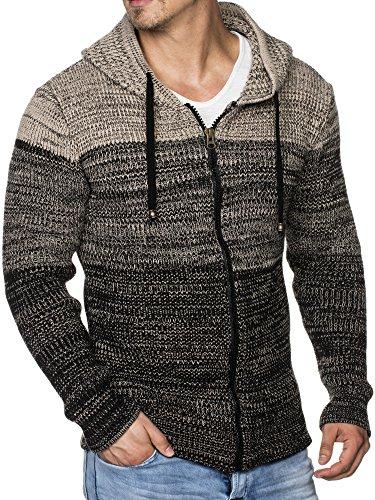 TAZZIO Herren Strick-Jacke mit Melange Muster 16485 Schwarz S (Mit Muster Kapuzen-pullover)