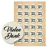 48 Stück runde beige natur braun vintage VIELEN DANK Aufkleber Nostalgie Dankeschön selbstklebende Sticker Etiketten - Verpackung Geschenk Präsent give-away Mitgebsel Gastgeschenke Dankeschön