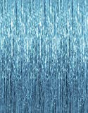 Baby Blue 3.2ft x 3.2ft Metallic Tinsel Foil Fringe Curtains for Theme Party Photo Backdrop Wedding Decor