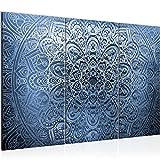 Bilder Mandala Abstrakt Wandbild 120 x 80 cm Vlies - Leinwand Bild XXL Format Wandbilder Wohnzimmer Wohnung Deko Kunstdrucke Blau 3 Teilig - MADE IN GERMANY - Fertig zum Aufhängen 101231b