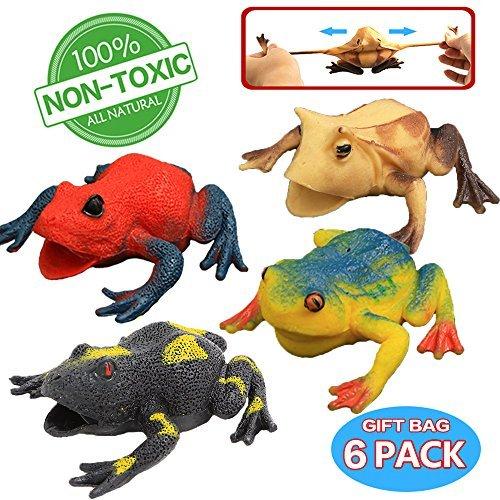 Spielzeuge in Form von Frosch, ausgewähltes Gummifrosch-Set in Größe 4.5 inch (6 Packungen), lebensmittelgeeignetes Material TPR, super dehnbar, mit geschenkter Tasche und Lernkasten, Tierwelt, lebensechte Froschfiguren, Spielzeuge für Jungs und Kinder, Badespielzeug (Frosch-gummi-spielzeug)