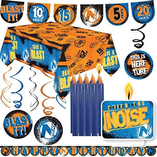 45-TLG. Kit de décoration « NERF » pour fête à thème et anniversaire d'enfant | avec nappe + guirlande + tourbillon + bougie + ballons | Décoration de fête à thème Hasbro N-Strike Elite