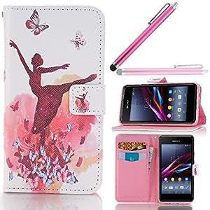 Hunye Custodia PU Pelle Portafoglio per Sony Xperia E1 / E1 Dual Case Ballerina Farfalle Flip Cover con Stilo Penna rosa