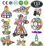 Jasonwell 133 Pezzi Blocchi Costruzioni Magnetici Magnetiche Giocattoli per Bambini Magneti Giocattolo Educativi Kit Accatastamento