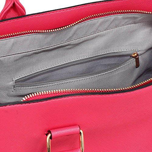 TrendStar Damen Der Frauen-Handtasche Umhängetaschen Konstrukteur Mode Promi-Stil Kunstleder D - Fuchsie