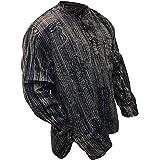 SHOPOHOLIC FASHION Unisex Stonewashed Striped Light Weight Hippy Grandad Shirt