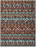 Biederlack Wohn- und Kuscheldecke, 60 % Baumwolle, Samtband-Einfassung, 150 x 200 cm, Braun/Türkis, Exquisite Cotton Ethno, 646163