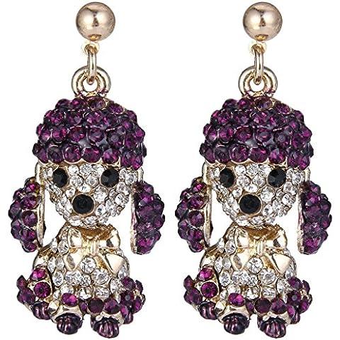 EVER FAITH® de las mujeres de cristal austriaco caniche pajarita pendientes de gota de oro de la púrpura-Tone
