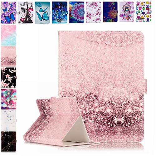 E-Mandala Universal 7 Zoll Hülle Etui Flip Case Leder Wallet Cover Tablet PC Tasche mit Kartenfach Klapphülle Ledertasche Lederhülle - Rose Gold