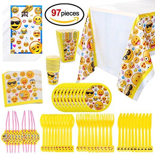 Howaf Kit Party Festa in TAVOLA Compleanno ADDOBBI con Motivo Emoji, 97 Pezzi, per 10 Bambini ( Piatti, Bicchieri, tovaglioli, tovaglia, cannucce, Posate plastica, Sacchetti, Scatole di Popcorn)