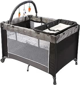 Faltbar Laufstall Stubenwagen mit Suspension Spielzeug und Wickeltisch LISI Baby Reisebett mit Matratze Bis 20kg