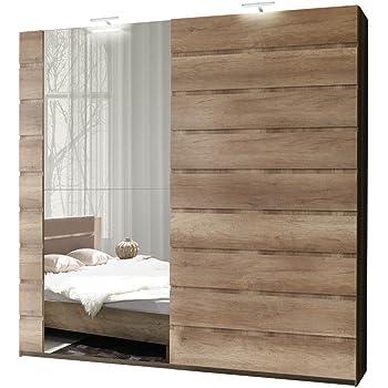 Schwebetürenschrank Miro 12 Modernes Kleiderschrank mit Spiegel, Garderobe,  Schlafzimmerschrank, Schiebetür Schrank, Schlafzimmer-Set (250 cm/Canyon ...