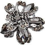 JOOFFF, fermaglio per capelli a forma di fiore da donna, con cristalli di diamante, Lega, grigio, 2.5*2cm