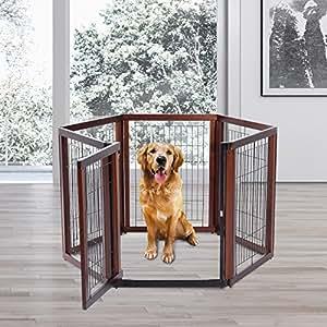Pawhut recinto gabbia per cani e gatti 6 elementi in for Recinto per cani in legno