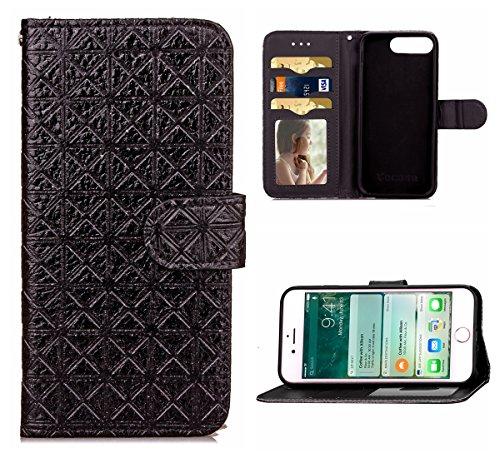 Voguecase® Pour Apple iphone 7 Plus 5,5 Coque, Étui en cuir synthétique chic avec fonction support pratique pour iphone 7 Plus 5,5 (motif lumineux-Vert)de Gratuit stylet l'écran aléatoire universelle M mot treillis-Noir