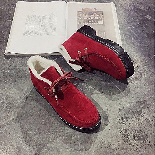 Hsxz Femmes Chaussures Nabuck Pu Cuir Automne Hiver Confort Mode Bottes Talon Plat Bottes Bout Rond Cheville Bottes / Bottines Vêtements Décontractés Rouge Jaune Rouge