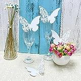 JZK® 50 x tarjetas etiquetas decorativas en forma de mariposa para boda invitaciones, agradecimiento, regalo, detalle de boda, cumpleaño, comunión, bautizo o fiesta (mariposa blanca )