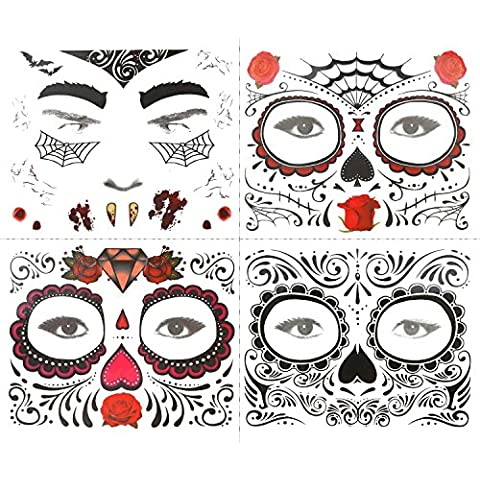 COKOHAPPY Cara Temporales Tatuaje 4 Kits Day of the Sugar Cráneo Calavera Rosa Floral Negro Skeleton Skeleton Halloween Hombres Mujer
