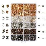 2460 Pièces Kit Fabrication de Bijoux - Anneaux Ouverts x 1500, Embouts de Cordon x 600, Pinces à Ruban x 180, Fermoirs Mousquetons x 180 dans Couleurs Métalliques - Magnifiques Colliers, Porte-clés
