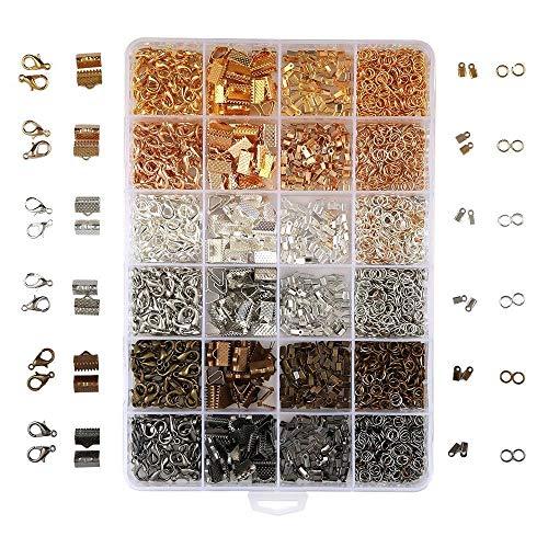 Kurtzy 2460 Teiliges Schmuck Bastel Kit- Binderingen x 1500, Faltbleche x 600, Bandklemmen x 180, Karabinerverschlüssen x 180 - Schmuck Teile/Zubehör Set - Chokers, Halsketten und Schlüsselanhänger