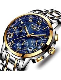 Relojes, Relojes de Hombre, Reloj de Cuarzo analógico de Negocios único para Hombres Cronógrafo