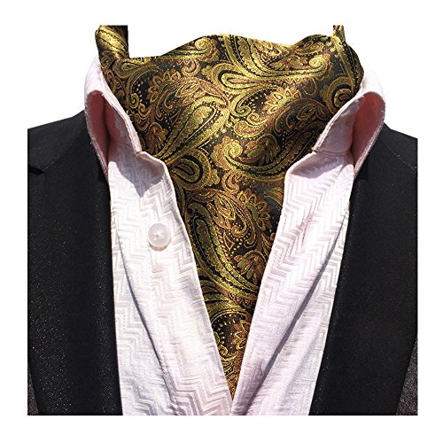 YCHENG Herren Krawattenschal Elegant Jacquard Paisley Floralem Muster Cravat Accessoires LJA-06 Braun One Size - Krawatte Herren Seide Schal