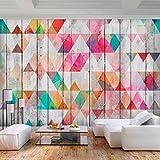 decomonkey | Fototapete Geometrisch Modern Holz 250x175 cm XL | Tapete | Wandbild | Bild | Fototapeten | Tapeten | Wandtapete | Wanddeko | Bunt Grau Textur Hintergrund | FOB0270a5XL