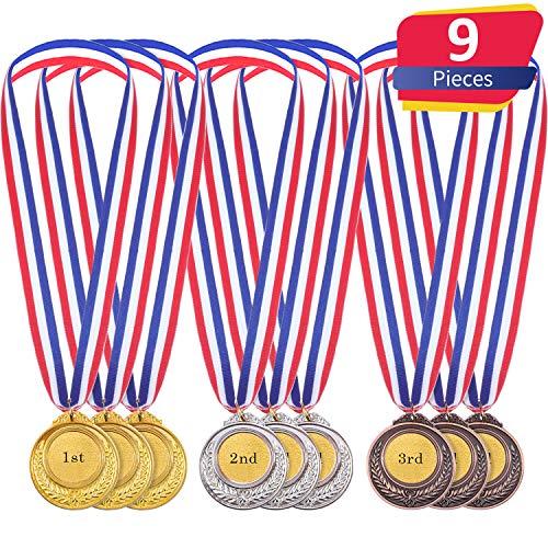 Gold Silber Bronze Olympische Stil Medaille Gewinner Medaillen Gold Silber Bronze Awards für Spiel und Party (9 Stücke)