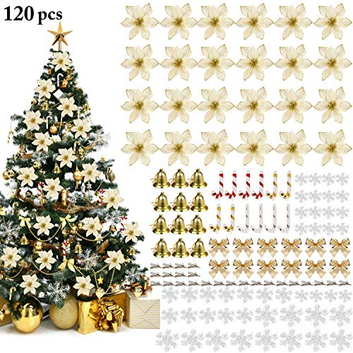 Outgeek ornamento di albero di natale, 120pcs 5.91 '' fiori di natale artificiali glitterati con fiocchi campana fiocchi neve piccole stampelle clip per decorazioni natalizie per feste di matrimonio