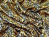 Satin Tiger Animal Print Kleid Stoff, Meterware, goldfarben