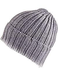 Grey Chunky Rib Knit Cashmere Beanie