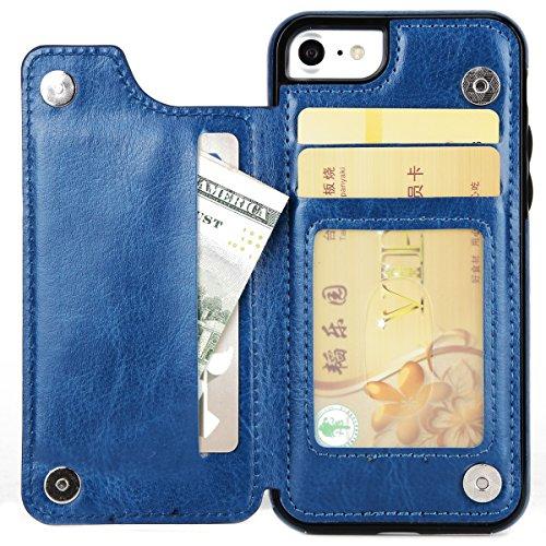FindaGift iPhone 7 Hülle, Klassisch PU Leder Wallet Case mit Flip Standfunktion und Kartensteckplätze Magnetic Closure Cover Anti-drop Schutzwache Case Mode Stoßfest Cover mit Abnehmbarer Fall und Wöl Blau