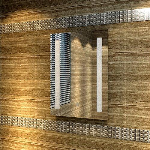 Badspiegel 45x60cm Spiegel (eckig) mit energiesparender LED-Beleuchtung kaltweiß IP44 mit Sensor-Schalter - 3