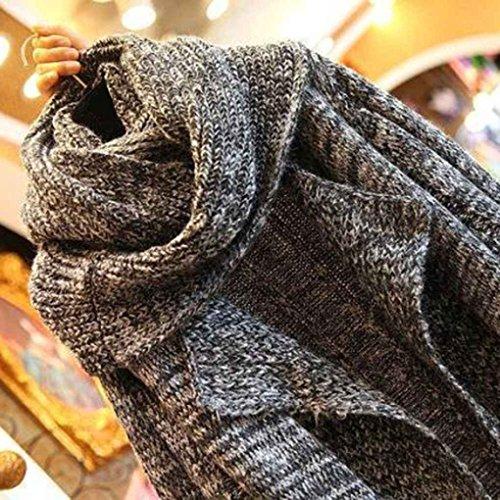 Femmes ¨¦charpe col lache tricot¨¦ cardigan ¨¤ manches longues long pull manteau avec poches gris fonc¨¦
