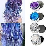 MOFAJANG Cera Cabello Temporal 4 Colors - Blanco, Plata, Azul, Púrpura para DIY Colorear y Modelar el Cabello de Moda