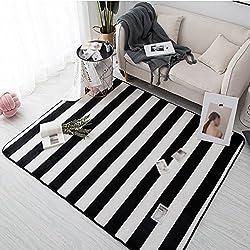 DT Alfombra de rayas, rectángulo Geometría blanca negra Tapete de felpa conciso Dormitorio Dormitorio Manta de noche Alfombra de fácil limpieza Longitud de la alfombra 45-120 Cm