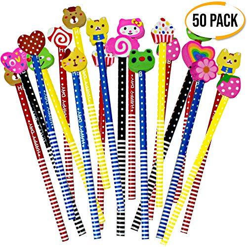 The Twiddlers 40 Holz stifte mit verschiedenen süßen Radiergummis ideale Spielzeuge Party Bag füller - Kinder Party Geschenk - Pinata Mitgebsel Filler, Geburtstag, Klassenzimmer preise