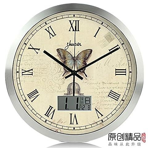 DIDADI Wall Clock Calendrier créatif Salon horloges murales Horloges Quartz silencieux Thermomètres horloges horloges horloges modernes et simples, 14