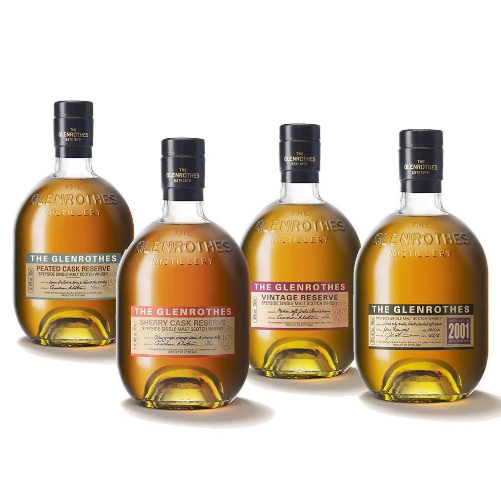 The Glenrothes 2001 + Sherry Cask + Vintage Reserve + Peat Cask – Whisky, pack de 4 botellas x 0.7 L