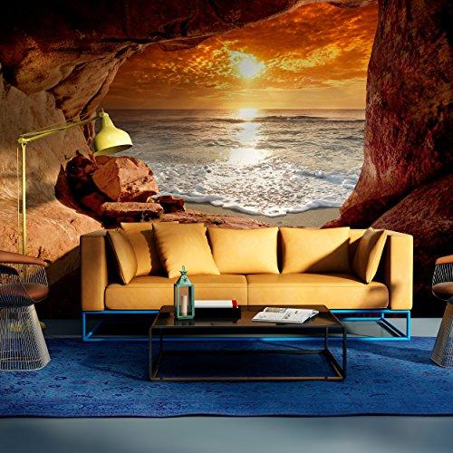 decomonkey | Fototapete Meer Strand 50x35 cm | Tapete | Wandbild | Riesen Wandbild | Bild | Fototapeten | Tapeten | Wandtapete |Sonnenuntergang Stein Himmel FOC0015a1XS