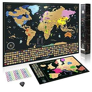 Mapa Mundi Rascar (61 X 42,7 cm) + Mapa Europa Rascar (46 X 33 cm). El paquete de regalo incluye una herramienta para rascar con precisión y pegatinas de recuerdo de viajes.