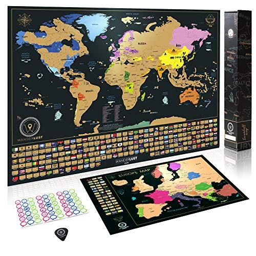 Mappa del mondo con bandiere da grattare + Mappa dell'Europa in Regalo (Mappa del mondo 61 x 43 CM ,Mappa dell'Europa 46 x 33 CM), oro/nero