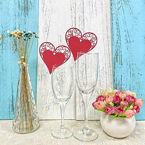 JZK 50 x Rot Herz ans Glas, Schimmer perle-weiss Platzkarten Tischkarten Namenskarten Tischdeko für Hochzeit Geburtstage Taufe Babyparty Kinder Party (Rot Herz)