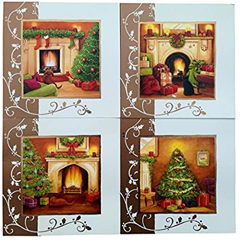 'Fireside Scenes'16 cartes de Noël avec enveloppes, 4 Designs